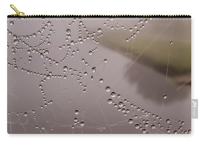Rain Drops Carry-all Pouch featuring the photograph The World Through A Web by Zina Stromberg