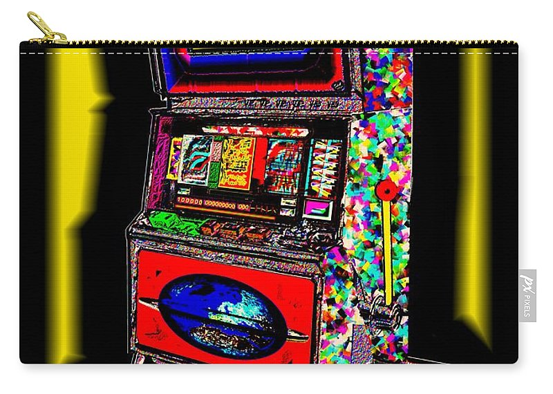 Greed Carry-all Pouch featuring the digital art the World-Trade-Slot-Machine by Helmut Rottler