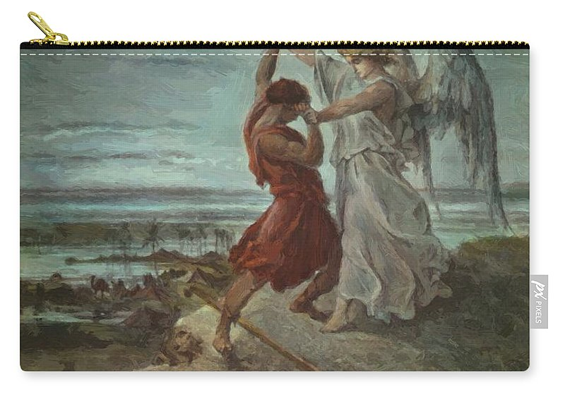The Carry-all Pouch featuring the painting The Wrestle Of Jacob 1855 by Dore Gustave
