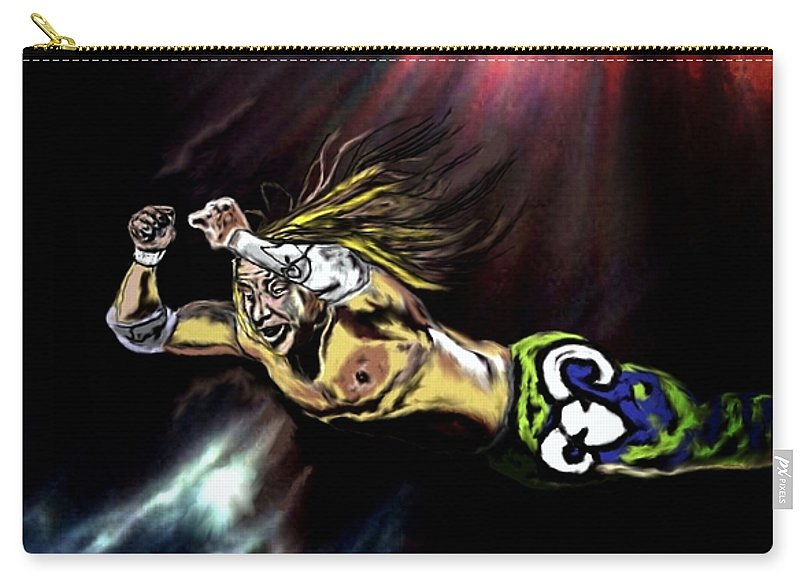 The Wrestler Carry-all Pouch featuring the painting The Wrestler by Herbert Renard