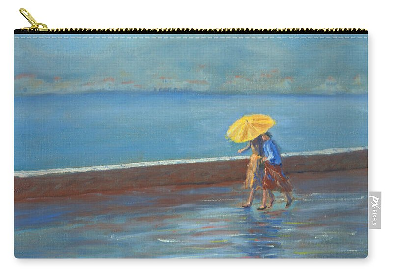 Rain Carry-all Pouch featuring the painting The Yellow Umbrella by Jerry McElroy