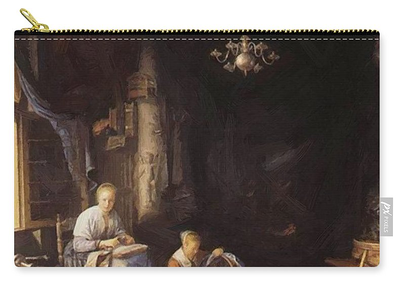 The Carry-all Pouch featuring the painting The Young Mother 1658 by Dou Gerrit