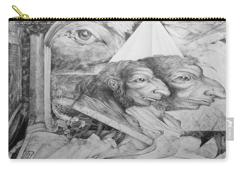 Otto Rapp Carry-all Pouch featuring the drawing The Zwerg Nase Twins dreaming of World Domination by Otto Rapp