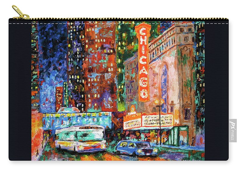 Chicago Theater Carry-all Pouch featuring the painting Theater Night by J Loren Reedy