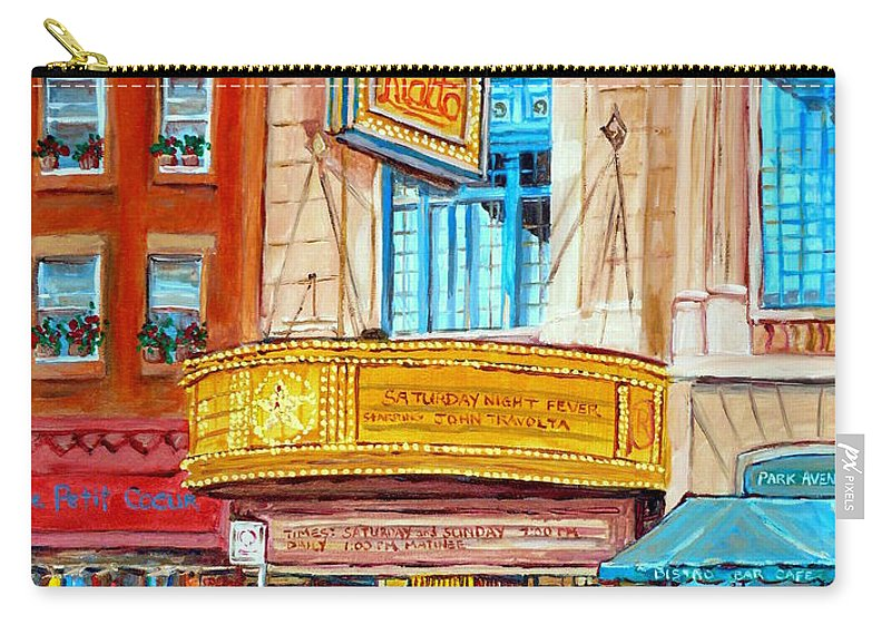 Montreal Carry-all Pouch featuring the painting Theatre Rialto Ave. Du Parc Montreal by Carole Spandau