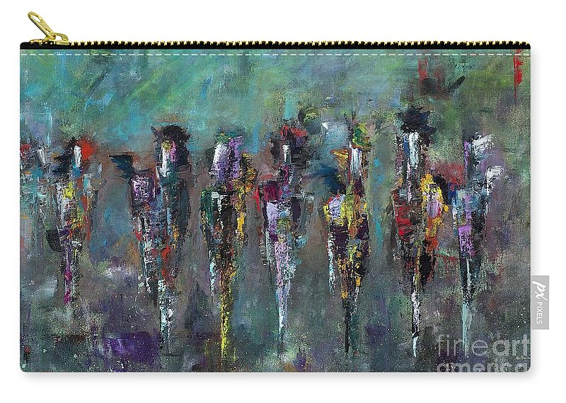 Abstract Art Carry-all Pouch featuring the painting Then Came Seven Horses by Frances Marino