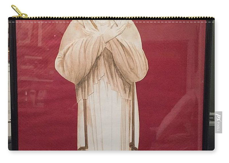 Virgen Mary Carry-all Pouch featuring the drawing Theotokos by Yolanda Bello