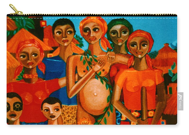 Pregnant Women Carry-all Pouch featuring the painting There Are Always Sunflowers For Those Waiting A New Life by Madalena Lobao-Tello