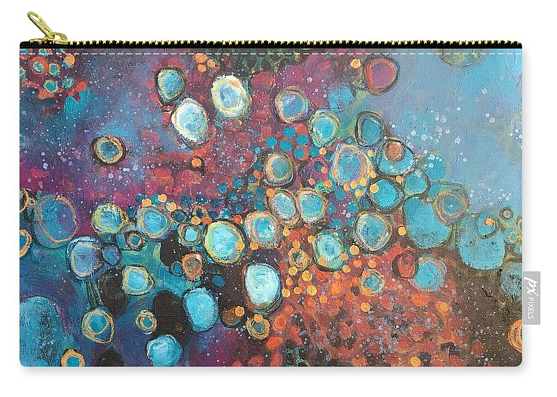 Circle Carry-all Pouch featuring the painting There Is Great Gratitude In The Reckoning by Laurie Maves ART