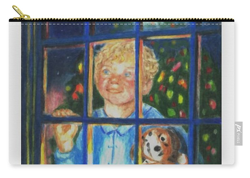 Santa Carry-all Pouch featuring the drawing There Really is a Santa by Quwatha Valentine