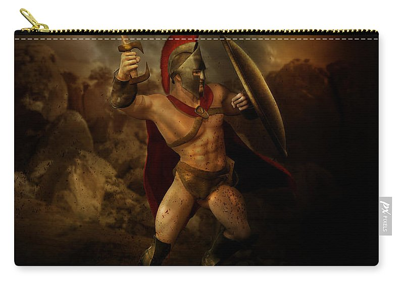 Spartan Carry-all Pouch featuring the digital art Thermopalyae by Karen Koski