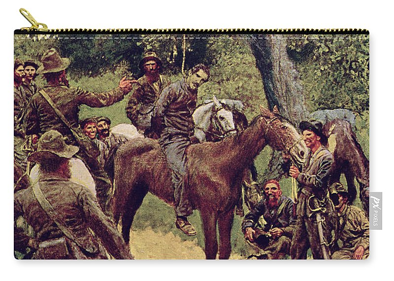 They Carry-all Pouch featuring the painting They Talked It Over With Me Sitting On The Horse by Howard Pyle