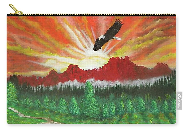 Acrylic Carry-all Pouch featuring the painting They That Wait Upon The Lord  Isa 40 31 by Laurie Kidd
