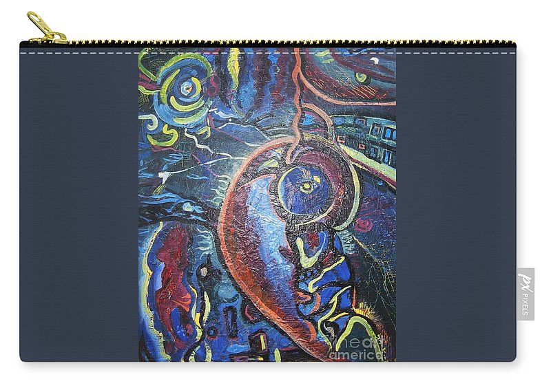Abstract Contemporary Home Blue Oil Canvas Board Carry-all Pouch featuring the painting Thinking Of Home by Seon-Jeong Kim