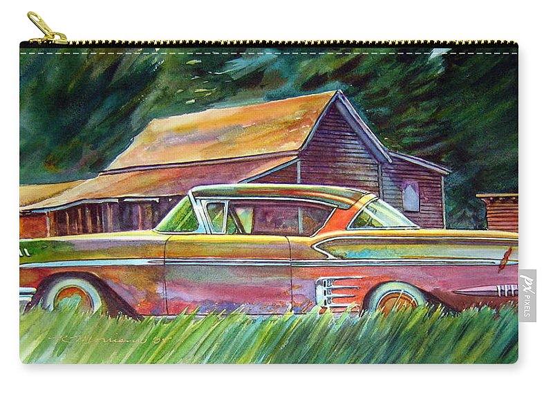 Rusty Car Chev Impala Carry-all Pouch featuring the painting This Impala Doesn by Ron Morrison