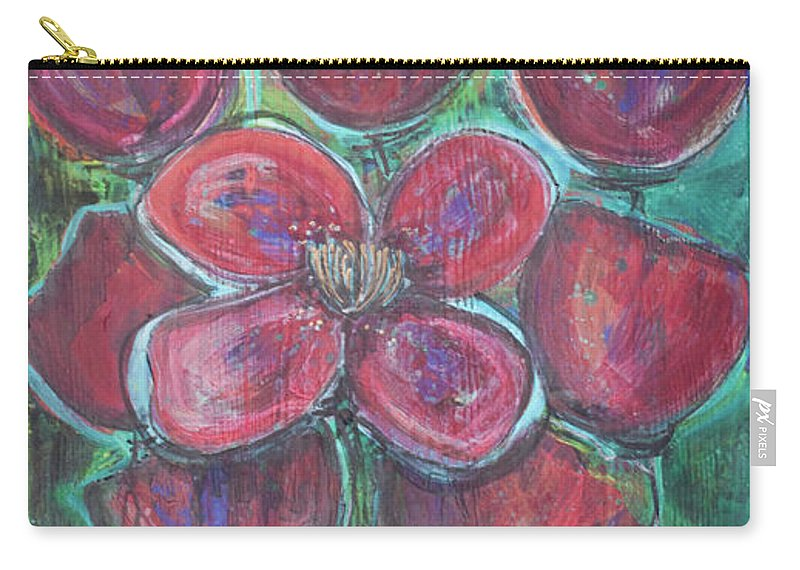 Poppies Carry-all Pouch featuring the painting This One Is You by Laurie Maves ART