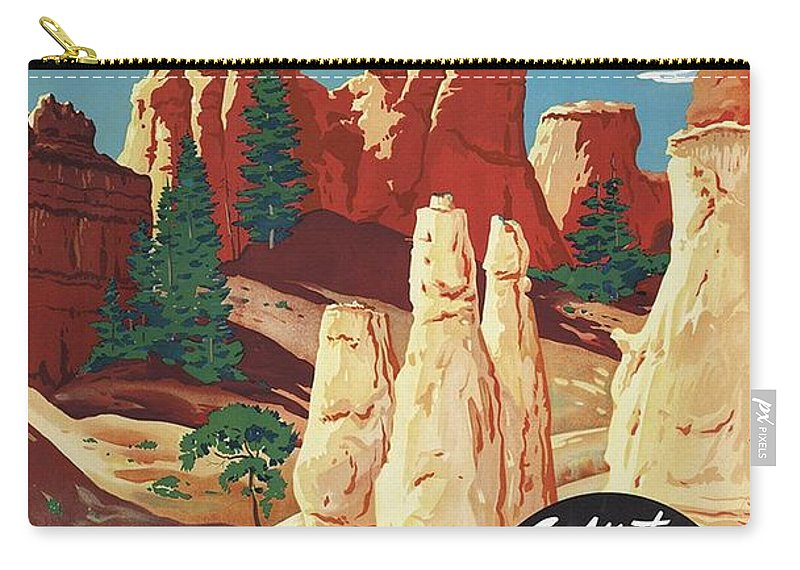Bryce Canyon Carry-all Pouch featuring the mixed media This Summer - Visit Bryce Canyon National Par, Utah, Usa - Retro Travel Poster - Vintage Poster by Studio Grafiikka