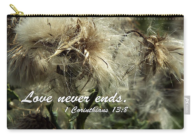 Christian Scriputre Carry-all Pouch featuring the photograph Thistle In Seed by Judi Saunders