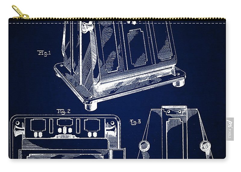 Edison Patents Carry-all Pouch featuring the digital art Thomas A. Edison Jr. Toaster Patent 1933 4 by Nishanth Gopinathan