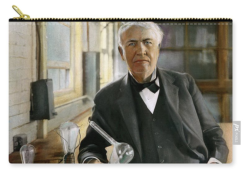1915 Carry-all Pouch featuring the photograph Thomas Edison by Granger