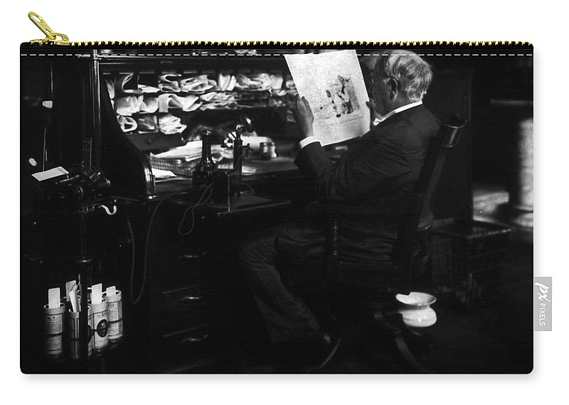 Thomas Edison Carry-all Pouch featuring the photograph Thomas Edison Reading by Sad Hill - Bizarre Los Angeles Archive