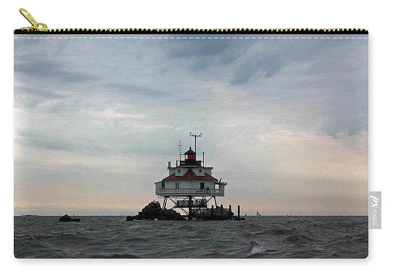 Thomas Carry-all Pouch featuring the photograph Thomas Point Shoal Lighthouse - Icon Of The Chesapeake Bay by Ronald Reid