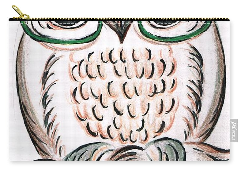 Teresa White Carry-all Pouch featuring the drawing Owl- Those Spectacles by Teresa White