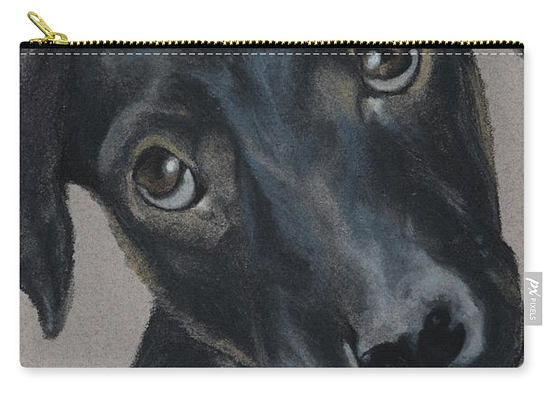 Dog Carry-all Pouch featuring the painting Those Puppy Dog Eyes by Catt Kyriacou