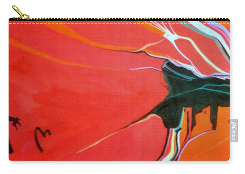 Anasazi Carry-all Pouch featuring the painting Those Who Came Before Us by Marlene Burns