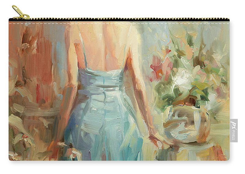 Woman Carry-all Pouch featuring the painting Thoughtful by Steve Henderson