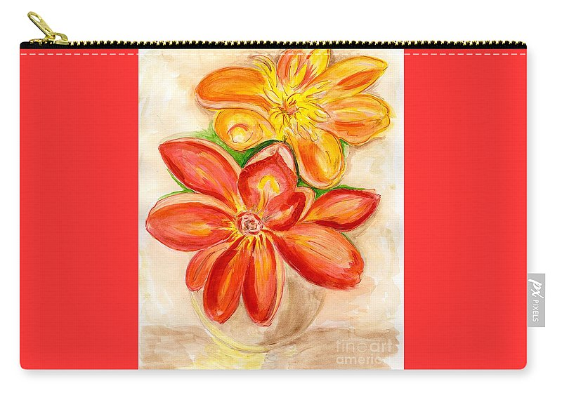 Orange Red Flowers Carry-all Pouch featuring the painting Thoughtfulness by Anne Gitto