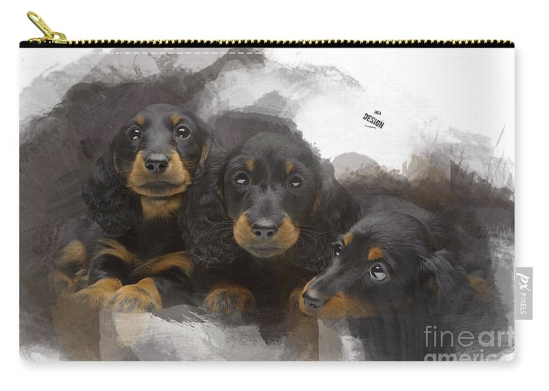 Imia Design Carry-all Pouch featuring the digital art Three Adorable Black And Tan Dachshund Puppies by Maria Astedt