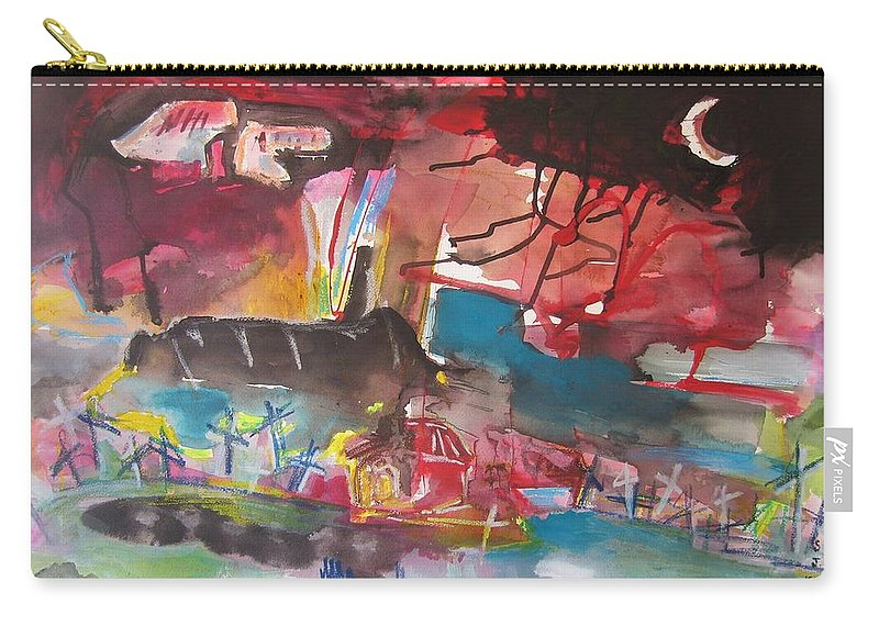 Original Carry-all Pouch featuring the painting Three Arms10 Original Abstract Colorful Landscape Painting For Sale Red Blue Green by Seon-Jeong Kim