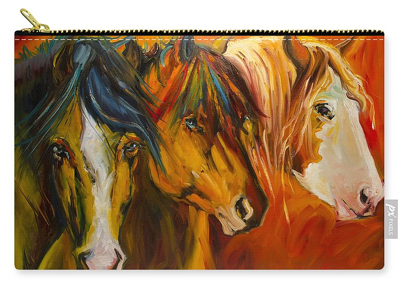 Horse Carry-all Pouch featuring the painting Three at the Fence Line by Diane Whitehead