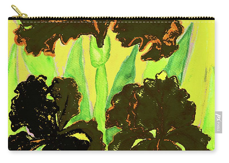 Iris Carry-all Pouch featuring the painting Three Black Irises, Painting by Irina Afonskaya