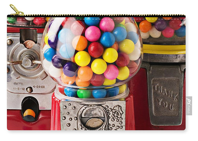 Gum; Bubble Gum; Machine; Vendor; Old Fashion; Antique Carry-all Pouch featuring the photograph Three Bubble Gum Machines by Garry Gay