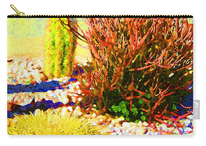 Landscape Carry-all Pouch featuring the painting Three Cacti by Amy Vangsgard