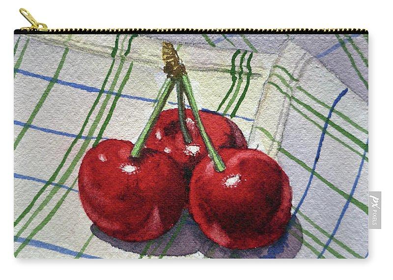 Watercolor Paintings Carry-all Pouch featuring the painting Three Sweet Cherries By Irina Sztukowski by Irina Sztukowski