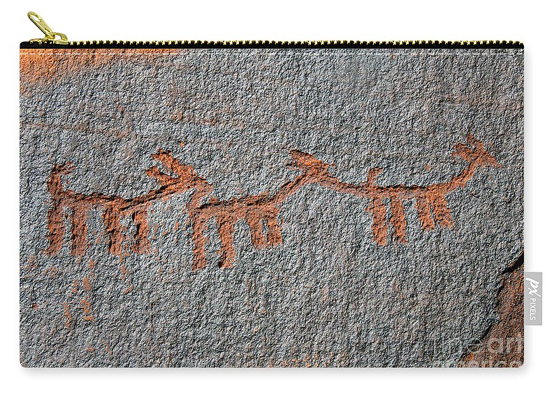 Petroglyphs Carry-all Pouch featuring the photograph Three Deer by David Lee Thompson