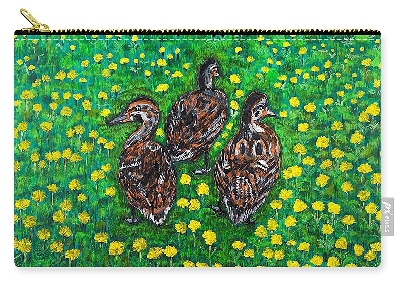 Bird Carry-all Pouch featuring the painting Three Ducklings by Valerie Ornstein