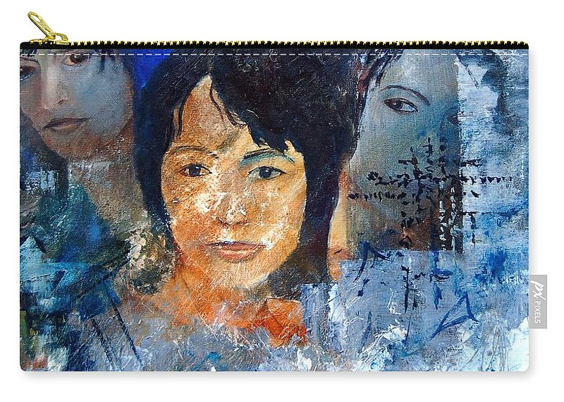 Girl Carry-all Pouch featuring the painting Three Faces by Pol Ledent