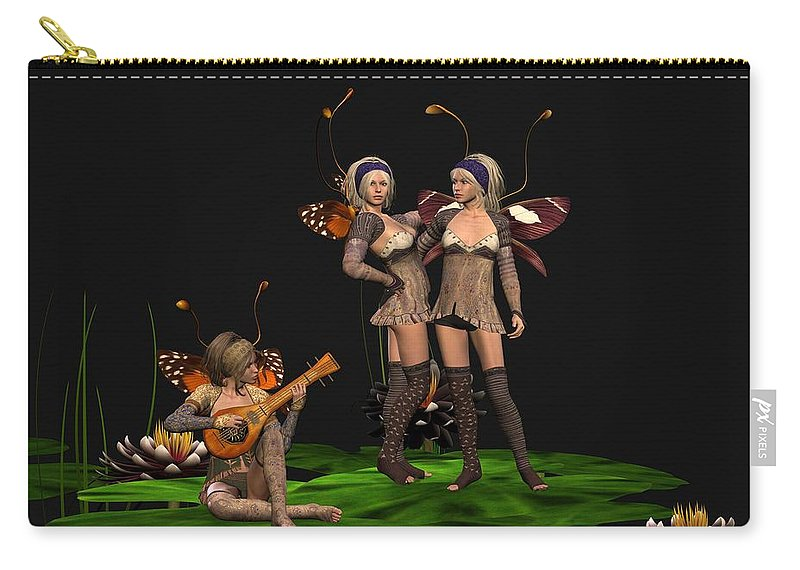 Fanasty Carry-all Pouch featuring the digital art Three Fairies At A Pond by John Junek