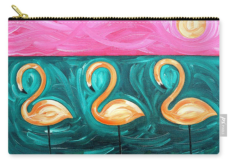 Flamingo Carry-all Pouch featuring the painting Three Flamingoes by Patrick J Murphy