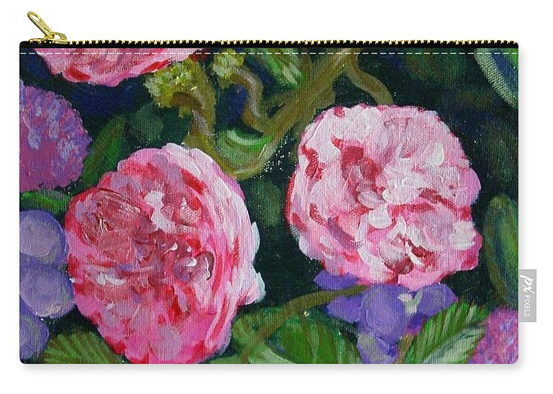 Roses Carry-all Pouch featuring the painting Three For The Show by Laurie Morgan