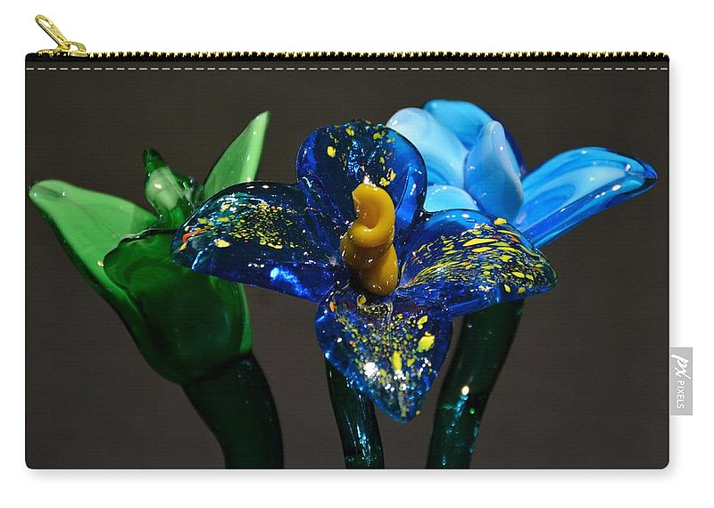 Flowers Carry-all Pouch featuring the photograph Three Glass Flowers by Jennifer Wick