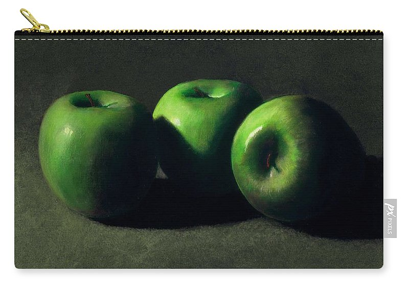 Still Life Carry-all Pouch featuring the painting Three Green Apples by Frank Wilson