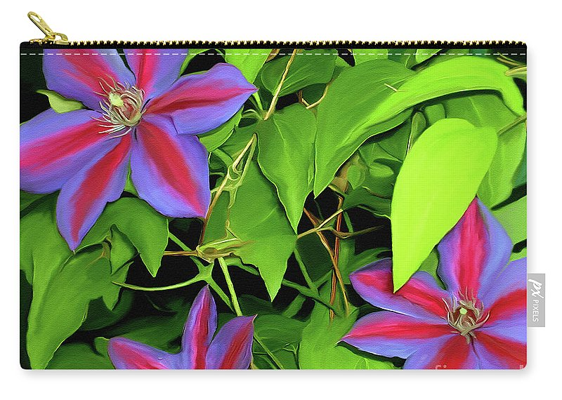 Mixed Media Art Carry-all Pouch featuring the painting Three Jacks by Patricia Griffin Brett