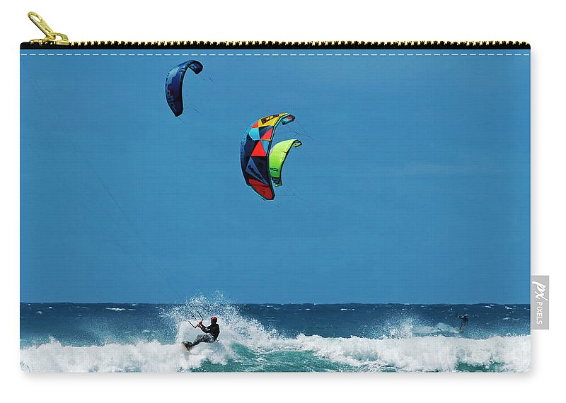 Kites Carry-all Pouch featuring the photograph Three Kites by Mike Dawson