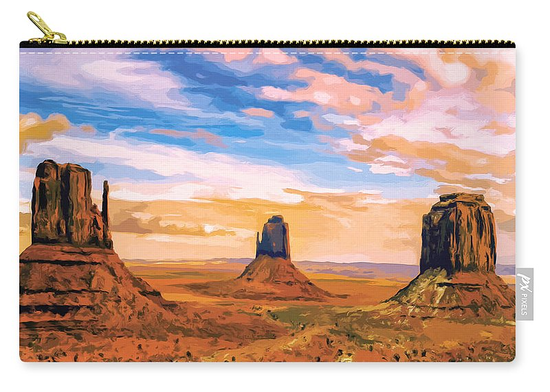 Mesa Carry-all Pouch featuring the painting Three Mesas by Dominic Piperata