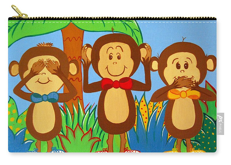 Monkeys Carry-all Pouch featuring the painting Three Monkeys No Evil by Valerie Carpenter
